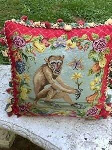Needlepoint Pillow~Monkey Design~Red/Tassels~20x20~FREE SHIPPING~Fruit/Floral~