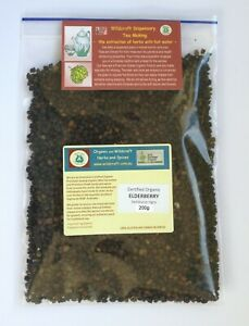 ELDERBERRIES 200g Certified Organic Elderberry Herbal Tea Sambucus nigra