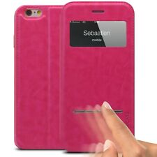 Coque Housse Folio Smart Touch View Cuir Eco Stand Pour iPhone 6 Plus (5.5) Rose