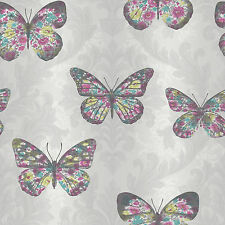 Arthouse Midsummer Paloma & Multicolor Mariposa Con Purpurina Papel Pintado