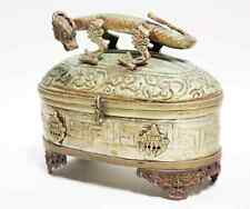 Antique Oriental Footed Box Hinged Lid Dragon Handle Metal Green Patina Lined