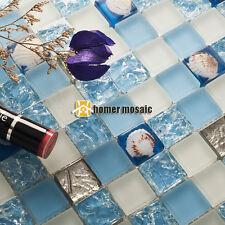 crystal blue glass sea shell kitchen backsplash tiles bathroom mosaic EHGM1074