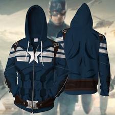 Marvel Captain America Cosplay 3D Hoodie Sweatshirt Costume Zipper Jacket Coat