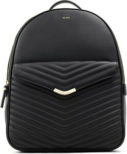 ALDO Quilted Backpack Bookbag Black NWT