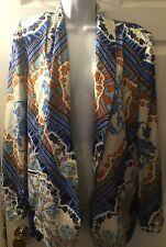 Bar Iii 3 Jacket Floral Boho Blazer Ivory Turquoise Blue Coat Open Front Sz L