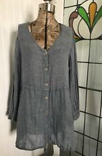 FLAX Linen Langenlook Blue Long Sleeve Pocket Tunic Size S