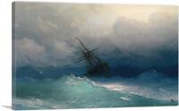 ARTCANVAS Ship in the Stormy Sea 1858 Canvas Art Print by Ivan Aivazovsky