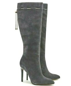 French Connection Grey Knee High Leather Boots Monika Suede Heeled 4 37 £180 NEW