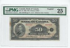 1935  Osb/Tow Canada $50 Note PMG **VF-25** SN# A07329  English, Stain