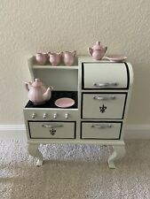 18 in. Doll stove and oven with china tea service by The Queens Treasures