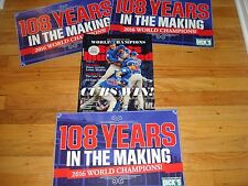 RARE 3 LOT DICK'S CHICAGO CUBS WORLD SERIES MIDNIGHT BANNER SIGN+ 108 YEARS 2016