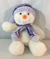 Commonwealth Snowman White Purple Christmas Stuffed Animal Plush Toy Lovey