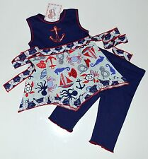 AnnLoren Girls Set 2 3t Anchors Away Hanky Dress Leggings Nautical New kg1