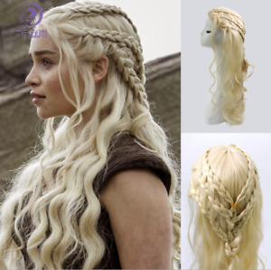 Game of Thrones Daenerys Targaryen Qarth Wigs Long Curly Wave Wig Halloween Prop