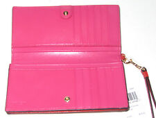 Coach Slim Wristlet Wallet Colorblock Leather 53759 Carmine Dahlia Orange Pink