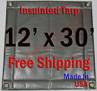 "12' x 30' Insulated Poly Tarp 1/4"" Foam Core Concrete  Padding Wall Cushion Kiln"
