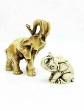 Lot Of 2 Two Resin Elephants Baby And Mom Elephant Figurines Statues Figures