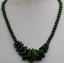 """New 6-20mm 100% natural emerald gemstone rhombus necklace 17.5 """" AA"""