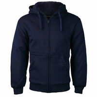 Boys Kids Soft Sherpa Lined Fleece Zip Up Hoodie Navy Sweater Jacket w/ Defect L