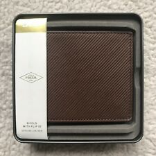 Fossil Men's Niles Embossed Leather Bifold Wallet - Brown