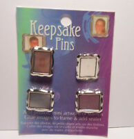 4 Silver Metal Keepsake Pin Blanks -Make your own pin with paper, clay, stamps