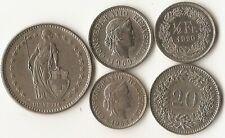 Five Switzerland coins, 5, 10, and 20 rappen, 1/2 and 2 francs, 1953 - 1990