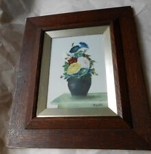 Victorian William Rayworth Derbyshire Still Life Floral Vase Oil Glass Painting