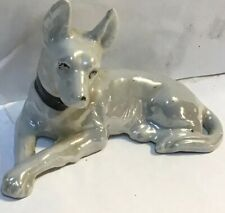 White Toy Manchester Terrier Porcelain Figurine Made In Japan