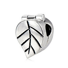 5Pcs Silver Plated Stopper Leaf Beads Charms for Chain Bracelets Crafts DIY Gift