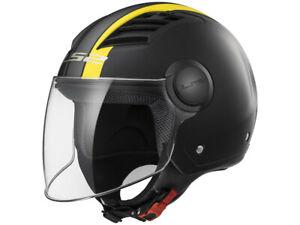 LS2 Jet Helmet OF562 Airflow Metropolis Black Yellow Matte Motorcycle From Hptt