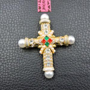 Woman's Charm White Crystal Enamel Pearl Cross Betsey Johnson Brooch Pin