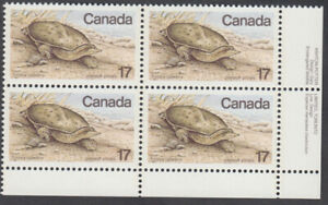 Canada #813 Endangered Wildlife - Spiny Soft-Shelled Turtle Plate Block - MNH