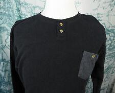 RIP CURL Men's Thermal Collarless Pullover LS Shirt - Black Surf Gear Lg - Z169z