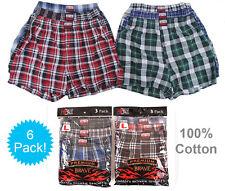 6 Mens Plaid Boxer Shorts 100% Cotton Underwear Lot Pack Small Medium Large XL