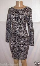 NWT KARDASHIAN KOLLECTION BLACK SPOTTED LEOPARD BODYCON LONG SLEEVE DRESS SIZE S