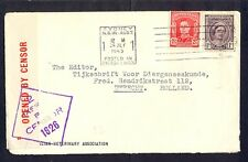 Australia, 1945, Cover from Sydney to Utrecht with censorship cancel and label