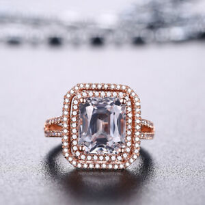 Emerald Cut 10x8mm White Topaz 18K Rose Gold Wedding Diamonds Double Halo Ring