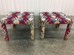 MID CENTURY MODERN PAIR PARSONS SIDE TABLES STOOLS IN JACK LENOR LARSEN FABRIC