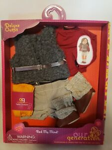 """New Our Generation 18"""" Doll Red My Mind Outfit Faux Fur Vest Boots Belt Tights"""
