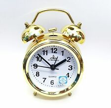 VINTAGE GOLDEN 3 INCH DISPLAY METAL TWIN BELL ALARM TABLE CLOCK WITH  LIGHT-8819