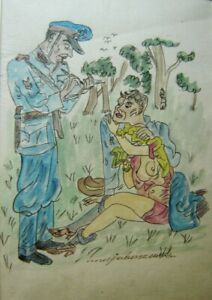 Humorous Erotic Watercolor Maja Berezowska (1898-1978) Polish Listed