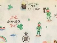 RPFFT72A Irish Pot Of Gold St Patrick's Day Beer Leprechaun Cotton Quilt Fabric