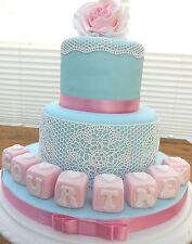commestibile rosa nome BLOCCHI compleanno battesimo bambino fino a 8 Per una