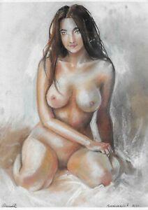original drawing A4 233BoK art samovar Pastel modern female nude Signed 2021