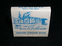 The Bank of Telluride,Colorado  Matchbook full rear strike 30 stick Matchbook