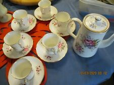 Vintage Oakley Bone China tea set with teapot and 6 demitasse cups & saucers