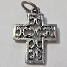 Vintage Silver Tone Scrolled Cross Crucifix Pendant