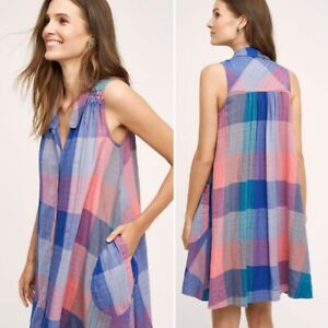 Holding Horses Anthropologie Ronan Blue Pink Plaid Sleeveless Shift Dress Sz XS