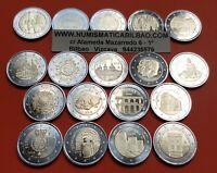 18 monedas x ESPAÑA 2 EUROS 2005...2017+2018+2019+2020 CONMEMORATIVOS SC Spain