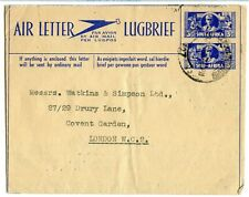 SOUTH AFRICA AEROGRAMME 3d+3d, #1, USED TO LONDON 1946, LONG MESSAGE    (CE829)